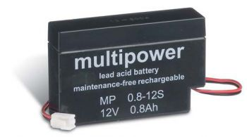 Multipower MP0,8-12JST AGM Batterie / Bleiakku 12V 0.8Ah