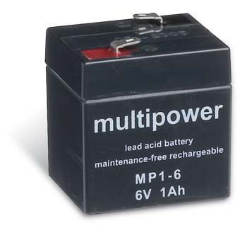 Multipower MP1-6 AGM Batterie / Bleiakku 6V 1Ah
